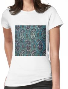 Navy Blue Paisley Womens Fitted T-Shirt