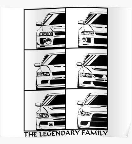 Mitsubishi Evolution. Legendary Family Poster