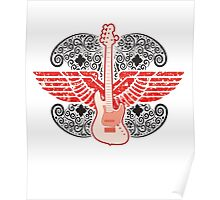 Electric Guitar with Wings Poster