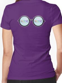 Imagine, Psychedelic, Round, Glasses, Women's Fitted V-Neck T-Shirt