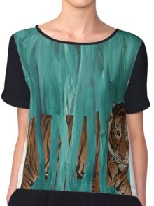 turquoise tiger Chiffon Top