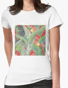 rooster pattern Womens Fitted T-Shirt