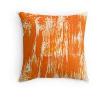 Orange Paint Brush Throw Pillow