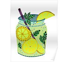 Lemonade in a jar illustration Poster