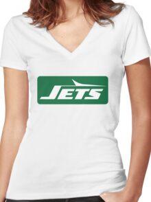 Jets Vintage Logo Women's Fitted V-Neck T-Shirt
