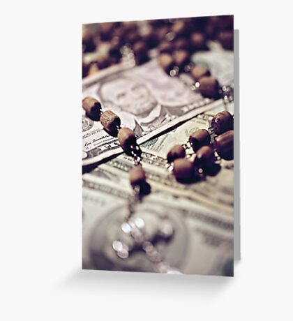 Politics Religion and Money Greeting Card