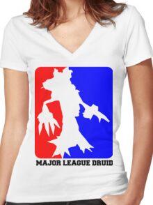 Major League Druid: Resto Women's Fitted V-Neck T-Shirt