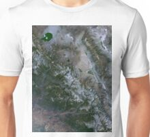 Yosemite National Park and Sierra Nevada Mountains California Satellite Image Unisex T-Shirt