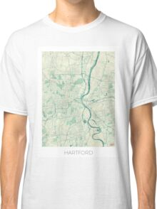 Hartford Map Blue Vintage Classic T-Shirt