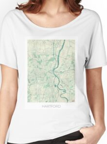 Hartford Map Blue Vintage Women's Relaxed Fit T-Shirt