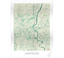 Hartford Map Blue Vintage Poster
