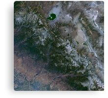 Yosemite National Park and Sierra Nevada Mountains California Satellite Image Canvas Print