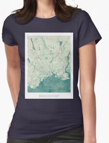 Bridgeport Map Blue Vintage Womens Fitted T-Shirt