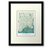 Bridgeport Map Blue Vintage Framed Print