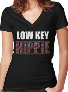Low Key Hippie Funny Women's Fitted V-Neck T-Shirt