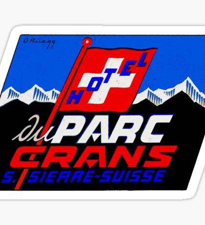 HOTEL DU PARC CRANS SUISSE SWITZERLAND Vintage Luggage Label Baggage Sticker Decal Sticker