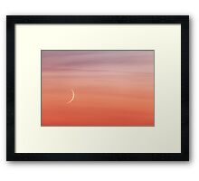 Moon crescent and sunset sky Framed Print
