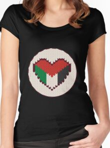 Palestine knitted heart  Women's Fitted Scoop T-Shirt