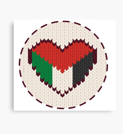Palestine knitted heart  Canvas Print