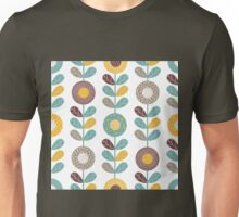 Retro flowers,floral,retro,pattern,teal,yellow,brown,white,hues,vintage, Unisex T-Shirt