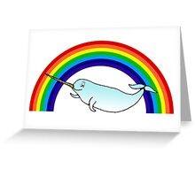Narwhal and Rainbow Greeting Card