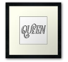 QUEEN MARIE GLITTER  LETTERING | SILVER TRENDY GRAPHIC QUOTE Framed Print