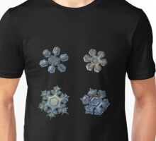 Four snowflakes on black background 2 Unisex T-Shirt
