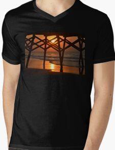 Surfside Pier Sunrise Mens V-Neck T-Shirt