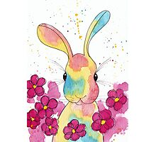 Peppermint Bunny with Pink Flowers Photographic Print