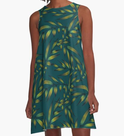 Tropical leaves  floral exotic pattern A-Line Dress