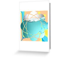 Abstract art,contemporary art,water,turquoise,peach,yellow, Greeting Card