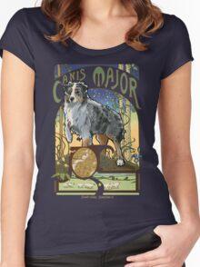 Australian Shepherd Art Nouveau Canis Major Constellation Women's Fitted Scoop T-Shirt
