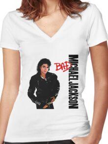 Micheal Jackson - Bad Album Art Women's Fitted V-Neck T-Shirt
