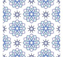 blue big geometric flowers and nine angle stars Photographic Print