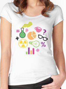 Crazy Neon Scientist Pattern Women's Fitted Scoop T-Shirt