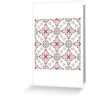 colored lines in circles and geometric quatrefoil violet leaves Greeting Card