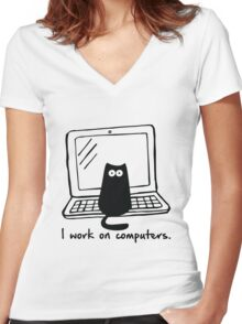 I work on computers Women's Fitted V-Neck T-Shirt