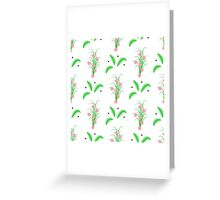 striped green leaves and grass with pink flowers Greeting Card