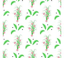 striped green leaves and grass with pink flowers Photographic Print
