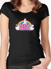 DEATH METAL! (Funny Unicorn / Rainbow Mosh Parody Design) Women's Fitted Scoop T-Shirt