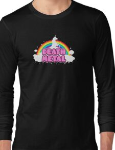 DEATH METAL! (Funny Unicorn / Rainbow Mosh Parody Design) Long Sleeve T-Shirt