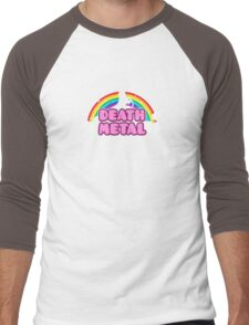 DEATH METAL! (Funny Unicorn / Rainbow Mosh Parody Design) Men's Baseball ¾ T-Shirt