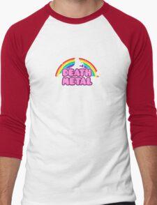 DEATH METAL! (Funny Unicorn / Rainbow Mosh Parody Design) Men's Baseball ¾ T-Shirt
