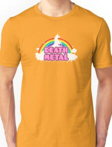DEATH METAL! (Funny Unicorn / Rainbow Mosh Parody Design) Unisex T-Shirt