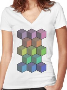 Colorful Cube Cascade! Women's Fitted V-Neck T-Shirt