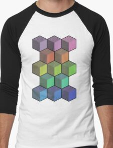 Colorful Cube Cascade! Men's Baseball ¾ T-Shirt