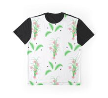 striped green leaves and grass with pink flowers Graphic T-Shirt