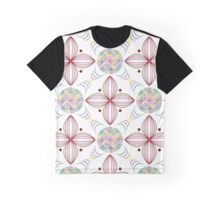 colored lines in circles and geometric quatrefoil violet leaves Graphic T-Shirt