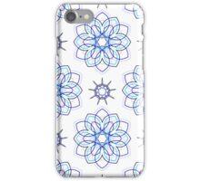 blue big geometric flowers and nine angle stars iPhone Case/Skin