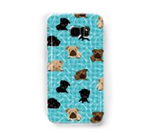 Pug Puppies and Bones on Light Aqua Samsung Galaxy Case/Skin
